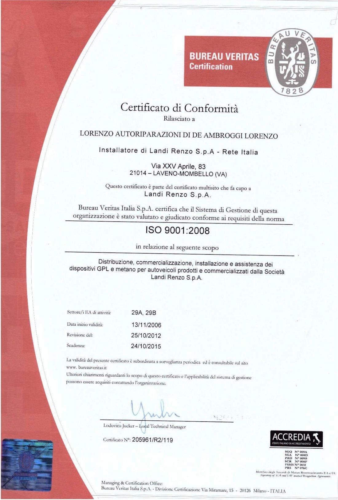 Certificazione Lorenzo Autoriparazioni ISO 9001